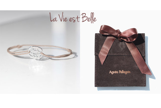 Agnes Pellegrin bracelet with la vie best belle engraving on sterling silver